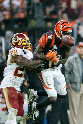 30.10.2016. Wembley Stadium, London, England. NFL International Series. Cincinnati Bengals versus Washington Redskins.  Washington Redskins strong safety Duke Ihenacho (29) breaks up the pass to Cincinnati Bengals wide receiver AJ Green (18).  Final score: Washington Redskins 27-27 Cincinnati Bengals after overtime.