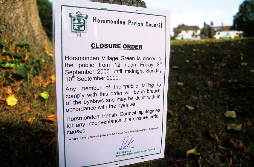 Police cordon off  Horsmonden horse fair in Kent.  On this occasion the police were preventing Romany  gypsies from reaching the green in Horsmonden where a horse fair had been occurring  for many years by creating an exclsion zone around the Kent village.