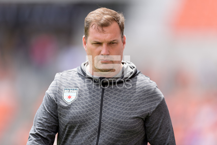 Houston, TX - Saturday April 15, 2017: Chicago Head Coach, Rory Dames during a regular season National Women's Soccer League (NWSL) match won by the Houston Dash 2-0 over the Chicago Red Stars at BBVA Compass Stadium.