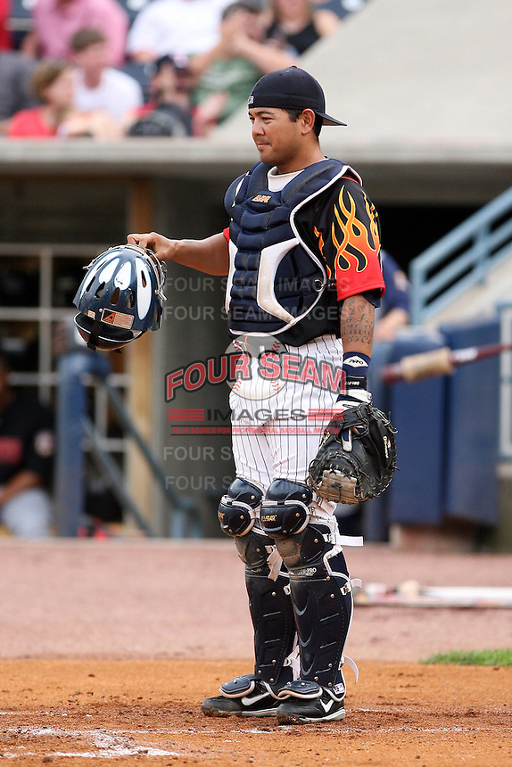 June 12th 2008: Catcher Dane Sardinha of the Toledo Mudhens, Class-AAA affiliate of the Detroit Tigers, during a game at Fifth Third Field in Toledo, OH.  Photo by:  Mike Janes/Four Seam Images