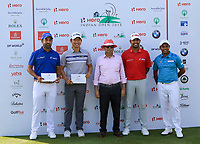 Shiv Kapur (Capt. Asia Team), Jeung-hun Wang,  Pawan Munjal (Chairman Hero), Anirban Lahiri and S.S.P Chawrasia during the Hero Skills Challenge of the Hero Indian Open at the DLF Golf and Country Club on Mondy 5th March 2018.<br /> Picture:  Thos Caffrey / www.golffile.ie<br /> <br /> All photo usage must carry mandatory copyright credit (&copy; Golffile | Thos Caffrey)