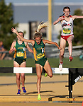 FARGO, ND - MAY 12: Taylor Janssen from North Dakota State lands in the water during the women's steeple chase finals at the 2017 Summit League Outdoor Championship Friday afternoon at Ellig Sports Complex in Fargo, ND. (Photo by Dave Eggen/Inertia)