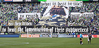 Seattle Sounders FC fans hold up and elaborate set of banner before play against Vancouver Whitecaps FC at Qwest Field in Seattle Saturday June 11, 2011. The game ended in a 2-2 draw.