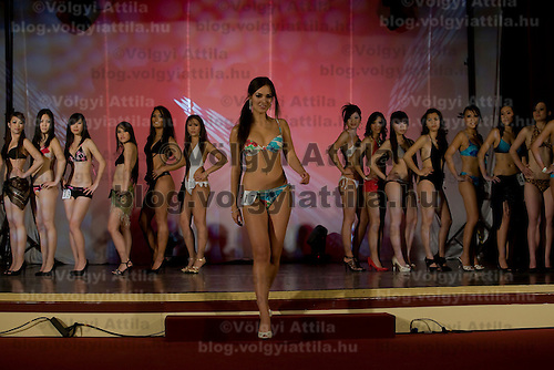 Vietnamese participant Viktoria Nguyen Viet from Hungary attends placing second during the Miss Asia Europe beauty contest held in Budapest, Hungary, Saturday, 05. December 2009. ATTILA VOLGYI