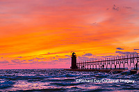 64795-02704 South Haven Lighthouse at sunset South Haven,  MI