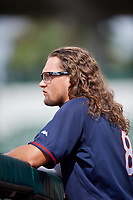 GCL Twins designated hitter Christian Cavaness (8) in the dugout during the first game of a doubleheader against the GCL Orioles on August 1, 2018 at CenturyLink Sports Complex Fields in Fort Myers, Florida.  GCL Twins defeated GCL Orioles 7-6 in the completion of a suspended game originally started on July 31st, 2018.  (Mike Janes/Four Seam Images)