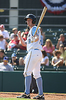 Myrtle Beach Pelicans outfielder Jared Prince #18 at bat during a game vs. the Wilmington Blue Rocks at BB&T Coastal Field in Myrtle Beach, South Carolina on April 10, 2011.   Photo By Robert Gurganus/Four Seam Images