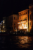 ITALY, Venice. View of buidling on the Grand Canal in Venice at night.