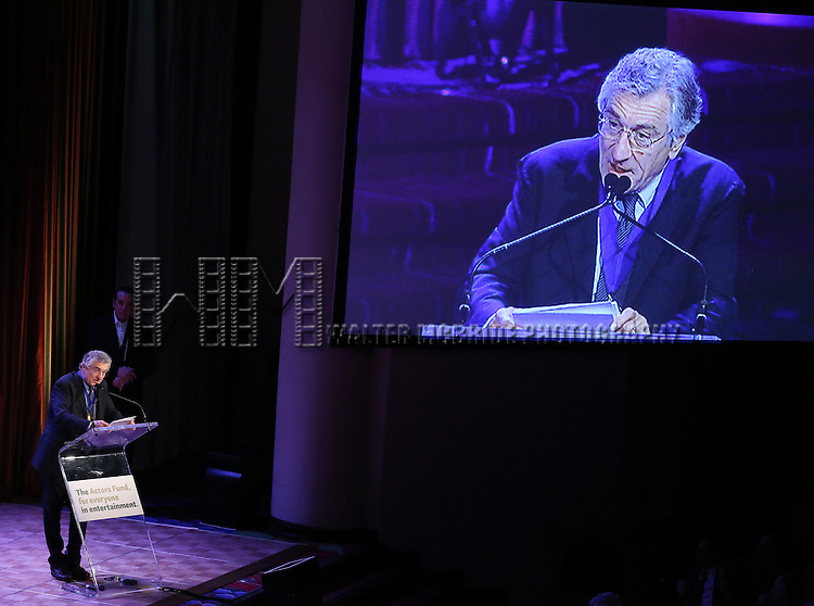 Robert De Niro  during the presentation of the 2013 Actors Fund Annual Gala honoring Robert De Niro at the Mariott Marquis Hotel in New York on 4/29/2013...