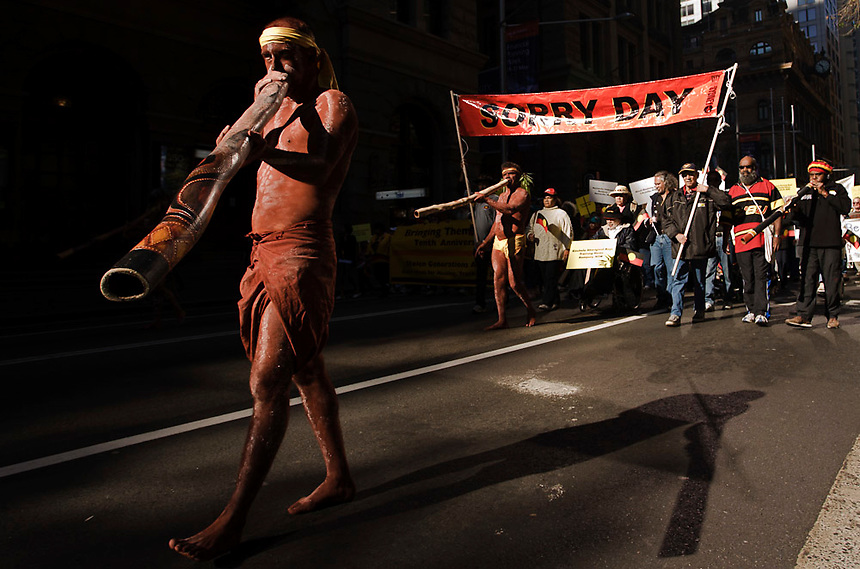 Indigenous protesters march down George Street in Central Sydney   to commemorating the stolen generations on 'Sorry Day', May 26, 2007. Photo: Ed Giles.