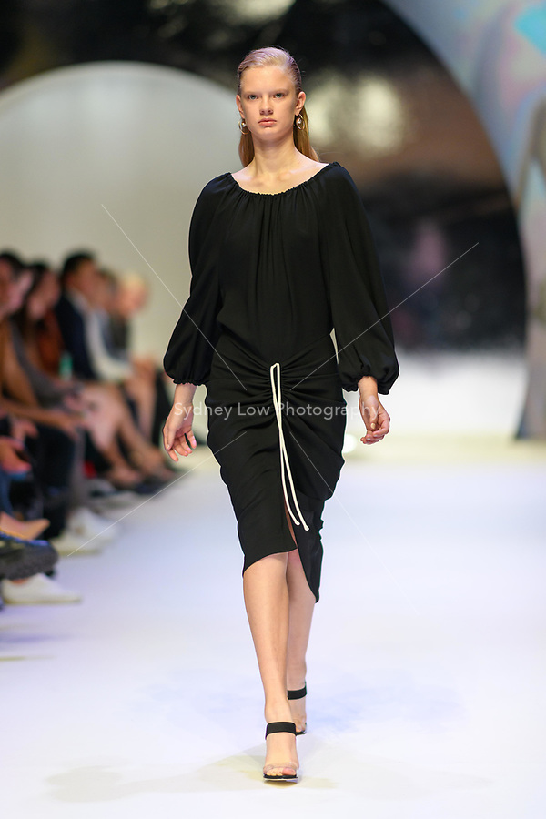 MELBOURNE - September 5, 2019: A model wearing Bianca Spender walks at the Town Hall Closing Runway show during Melbourne Fashion Week in Melbourne, Australia. Photo Sydney Low
