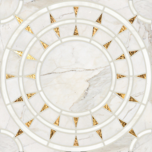 Mireille, a waterjet stone mosaic, shown in honed 24K Gold Glass, Calacatta and Dolomite, is part of the Aurora™ Collection by Sara Baldwin for New Ravenna.