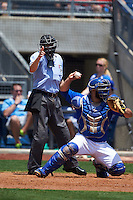 Umpire Matthew Czajak makes a call behind catcher Shawn Zarraga (35) during a game between the Midland RockHounds and Tulsa Drillers on June 3, 2015 at Oneok Field in Tulsa, Oklahoma.  Midland defeated Tulsa 5-3.  (Mike Janes/Four Seam Images)