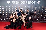 Full cast of 'La Llamada' receives the Best Comedian Film Award during Feroz Awards 2018 at Magarinos Complex in Madrid, Spain. January 22, 2018. (ALTERPHOTOS/Borja B.Hojas)