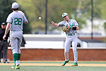 WAKE FOREST, NC - APRIL 15: Notre Dame's Kyle Fiala (right) returns the ball to Michael Hearne (28) after Hearne had thrown a strikeout. The Wake Forest Demon Deacons hosted the University of Notre Dame Fighting Irish on April 15, 2017, at David F. Couch Ballpark in Wake Forest, NC in a Division I College Baseball game. Wake Forest won the game 13-7.