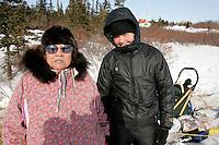 Heather Siirtola in Koyuk on Friday with village lady