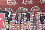 Team Sky sign on in San Gimignano before the start of the 2014 Strade Bianche race over the white dusty gravel roads of Tuscany, Italy. 8th March 2014.<br /> Picture: Eoin Clarke www.newsfile.ie