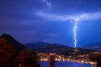 Lightning on Monte San Salvatore, Lugano Ticino, Switzerland, July 2013.