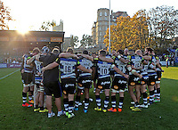 The Bath team huddle together after the match. Aviva Premiership match, between Bath Rugby and Harlequins on October 31, 2015 at the Recreation Ground in Bath, England. Photo by: Robbie Stephenson / JMP for Onside Images