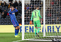 Bolton Wanderers' Christian Doidge rues a near miss<br /> <br /> Photographer Andrew Kearns/CameraSport<br /> <br /> The EFL Sky Bet Championship - Hull City v Bolton Wanderers - Tuesday 1st January 2019 - KC Stadium - Hull<br /> <br /> World Copyright © 2019 CameraSport. All rights reserved. 43 Linden Ave. Countesthorpe. Leicester. England. LE8 5PG - Tel: +44 (0) 116 277 4147 - admin@camerasport.com - www.camerasport.com