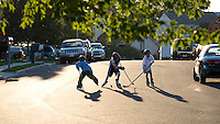 Children playing Street Hockey, Lumberton, New Jersey