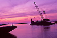 Sea crane dredging in the gulf of Mexico maintaining waterways and shipping, Florida