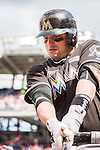 15 May 2016: Miami Marlins third baseman Martin Prado takes a swing on deck during a game against the Washington Nationals at Nationals Park in Washington, DC. The Marlins defeated the Nationals 5-1 in the final game of their 4-game series.  Mandatory Credit: Ed Wolfstein Photo *** RAW (NEF) Image File Available ***