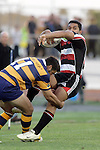 Lelia Masaga  is hit in a strong tackle by Anthony Tehana during the Air NZ Cup rugby game between Bay of Plenty & Counties Manukau played at Blue Chip Stadium, Mt Maunganui on 16th of September, 2006. Bay of Plenty won 38 - 11.