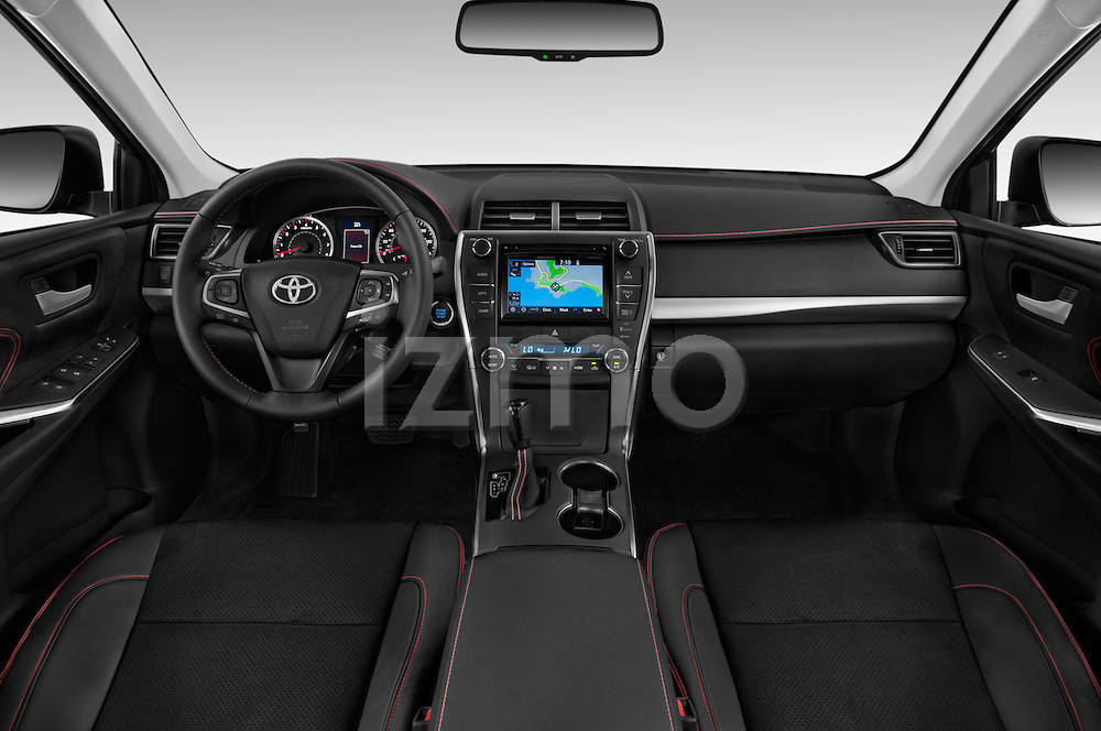 Stock photo of straight dashboard view of a 2015 Toyota Camry Se 4 Door Sedan