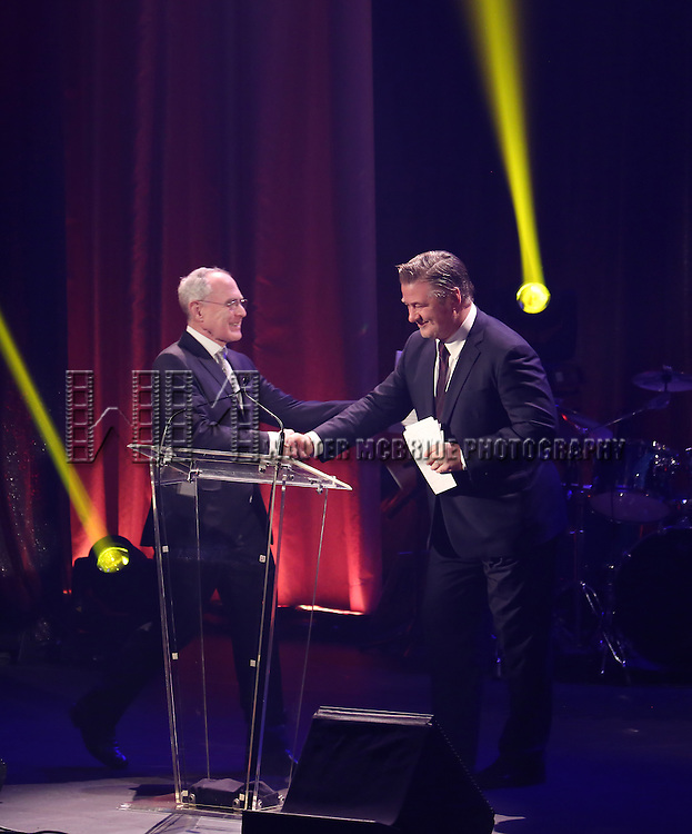 Todd Haimes and Alec Baldwin onstage during the Roundabout Theatre Company's  50th Anniversary Gala at The Waldorf-Astoria on February 29, 2016 in New York City.