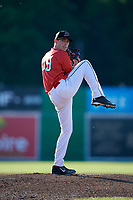 Batavia Muckdogs starting pitcher Martin Anderson (49) delivers a pitch during a game against the West Virginia Black Bears on July 3, 2018 at Dwyer Stadium in Batavia, New York.  Batavia defeated West Virginia 5-4.  (Mike Janes/Four Seam Images)
