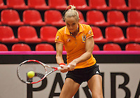 The Netherlands, Den Bosch, 16.04.2014. Fed Cup Netherlands-Japan, practice ,Arantxa Rus (NED)<br /> Photo:Tennisimages/Henk Koster