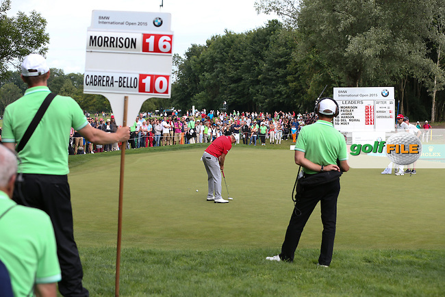 Sealing a birdie on 16 for 17 /{prsn}/ takes a two-set lead over the field into Round Four of the 2015 BMW International Open at Golfclub Munchen Eichenried, Eichenried, Munich, Germany. 27/06/2015. Picture David Lloyd | www.golffile.ie
