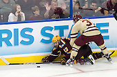 Nico Sacchetti (Minnesota - 13), Patch Alber (BC - 3) - The Boston College Eagles defeated the University of Minnesota Golden Gophers 6-1 in their 2012 Frozen Four semi-final on Thursday, April 5, 2012, at the Tampa Bay Times Forum in Tampa, Florida.