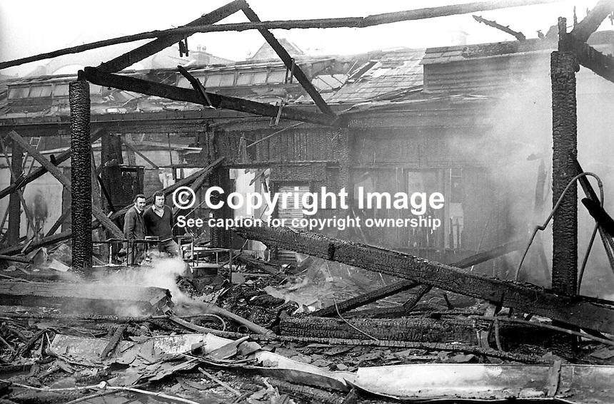 The devastation following a blaze at Smithfield Market, Belfast, N Ireland, UK, May 1974. 197405000248b<br /> <br /> Copyright Image from Victor Patterson, 54 Dorchester Park, Belfast, UK, BT9 6RJ<br /> <br /> Tel: +44 28 9066 1296<br /> Mob: +44 7802 353836<br /> Voicemail +44 20 8816 7153<br /> Email: victorpatterson@me.com<br /> Email: victorpatterson@gmail.com<br /> <br /> IMPORTANT: My Terms and Conditions of Business are at www.victorpatterson.com