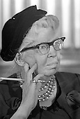 Former first lady Eleanor Roosevelt, wife of former United States President Franklin Delano Roosevelt, photographed in Washington, D.C. on January 9, 1962<br />