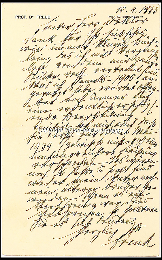 "BNPS.co.uk (01202 558833)<br /> Pic: LionHeartAutographs/BNPS<br /> <br /> An unseen letter in which Sigmund Freud pointed out a 'Freudian slip' and accurately predicted the year of his death has emerged for sale. <br /> <br /> In the 1933 correspondence the neurologist refers to a ""slip of the pen"", or Freudian slip, when commenting on an error his addressee, Theodor Reik, made in their previous exchange. <br /> <br /> It appears Reik, a protege and close friend of Freud, mistakenly anticipated the publication of his next book. Where he meant to write 1934, he in fact wrote 1939. <br /> <br /> The letter is being sold by American dealer Lion Heart Autographs for £10,000."