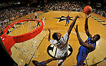 NASHVILLE, TN - FEBRUARY 25:  (EDITORS NOTE: Image was created using a fisheye lens.) Patric Young #4 of the Florida Gators takes a shot over Damian Jones #30 of the Vanderbilt Commodores at Memorial Gym on February 25, 2014 in Nashville, Tennessee.  (Photo by Frederick Breedon/Getty Images)