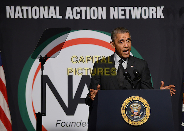 NEW YORK, NY - APRIL 11: 16th President Barack H. Obama speaks at the 16th Annual National Action Network's Convention at Sheraton New York City April 11, 2014. <br /> CAP/MPI/JDN<br /> &copy;JDN/MPI/Capital Pictures