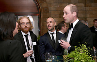 04 April 2019 - Prince William Duke of Cambridge with Oliver Wayman and Cameron Saul from Bottletop at Our Planet Global Premiere held at the Natural History Museum in London. Photo Credit: ALPR/AdMedia