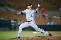Salt River Rafters pitcher Jerry Vasto (57), of the Colorado Rockies organization, during a game against the Glendale Desert Dogs on October 19, 2016 at Camelback Ranch in Glendale, Arizona.  Salt River defeated Glendale 4-2.  (Mike Janes/Four Seam Images)