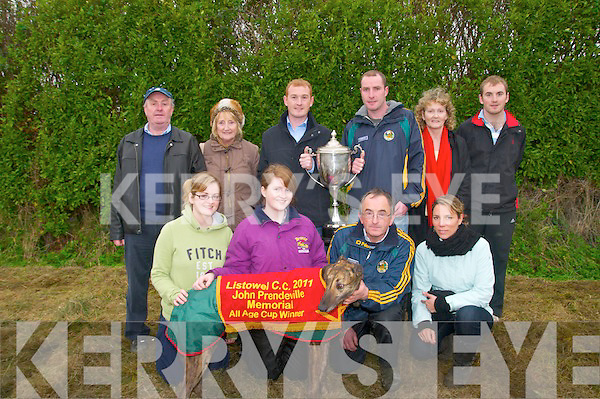Listowel Cup Winners : The Flynn family and their connections from Tarbert pictured with their dog High And Mighty after he won the John Prenderdiville Memorial CupListowel Cup , sponsored by  Browne Bookmakers, Listowel  at Listowel coursing on Sunday. Front: Grace, Aisling &  John Flynn & Latisha Bouviere. Back : John & Noreen Boland,Kieran Flynn, Michael Boland, Joan & Conor  Flynn.