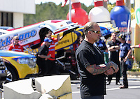 Mar. 16, 2013; Gainesville, FL, USA; Television actor Jesse James watches NHRA funny car qualifying for the Gatornationals at Auto-Plus Raceway at Gainesville. Mandatory Credit: Mark J. Rebilas-
