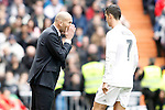 Real Madrid's coach Zinedine Zidane (l) and Cristiano Ronaldo during La Liga match. February 13,2016. (ALTERPHOTOS/Acero)