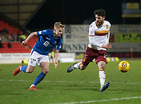 12th February 2020; McDairmid Park, Perth, Perth and Kinross, Scotland; Scottish Premiership Football, St Johnstone versus Motherwell; Liam Donnelly of Motherwell beaten by the run from Alistair McCann of St Johnstone