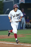 David Fletcher (24) of the Loyola Marymount Lions runs to first base during a game against the TCU Horned Frogs at Page Stadium on March 16, 2015 in Los Angeles, California. TCU defeated Loyola, 6-2. (Larry Goren/Four Seam Images)