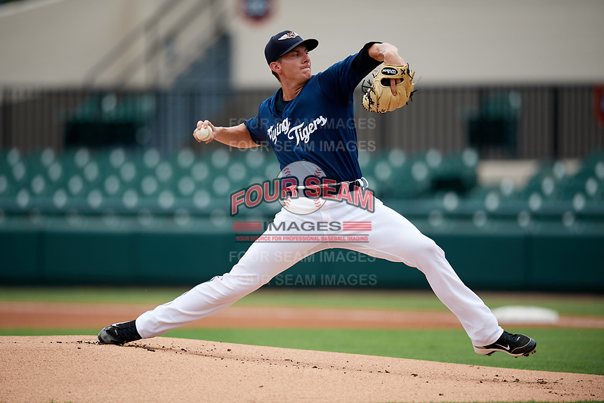 Lakeland Flying Tigers starting pitcher Kyle Dowdy (35) delivers a pitch during a game against the St. Lucie Mets on June 11, 2017 at Joker Marchant Stadium in Lakeland, Florida.  Lakeland defeated St. Lucie 1-0.  (Mike Janes/Four Seam Images)