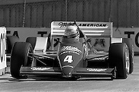 LONG BEACH, CA - APRIL 13: Danny Sullivan drives his March 86C/Cosworth during the Toyota Grand Prix of Long Beach CART Indy Car race on the temporary Long Beach Street Circuit in Long Beach, California, on April 13, 1986.