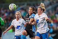 Allston, MA - Saturday, May 07, 2016: Boston Breakers player McCall Zerboni (77), Chicago Red Stars forward Jennifer Hoy (2) and Boston Breakers defender Kassey Kallman (5) during a regular season National Women's Soccer League (NWSL) match at Jordan Field.