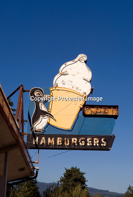 Classic roadside food sign near Coos Bay, OR